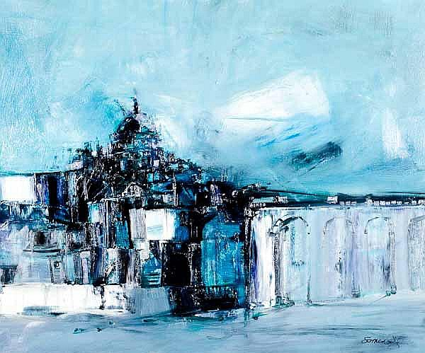 * JAMES SOMERVILLE Townscape oil on canvas 63cm x