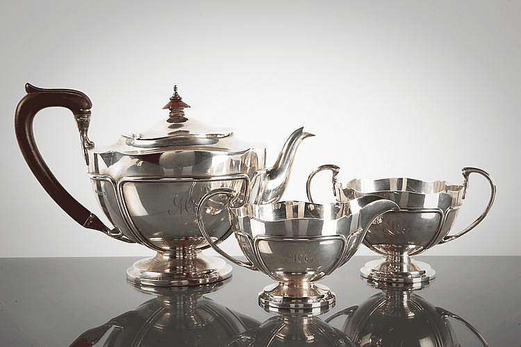 SILVER THREE PIECE TEA SERVICE