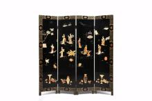 SET OF FOUR APPLIQUE LACQUER FLOOR SCREEN