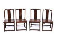 SET OF FOUR HARDWOOD CHAIRS
