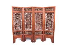 SET OF FOUR OPENWORK CARVED WOODEN FLOOR SCREENS