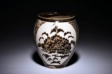 FLOWERS' WHITE GLAZED JAR