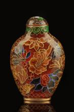 CLOISONNE ENAMELED 'FLOWERS' SNUFF BOTTLE