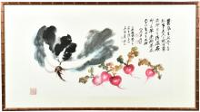 ZHANG DAQIAN: FRAMED INK & COLOR 'NAPA CABBAGE' PAINTING