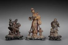 A GROUP OF THREE QINGTIAN SOAPSTONE FIGURAL CARVINGS