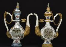 PAIR OF CLOISONNE ENAMEL WINE EWER INSET WITH JADE