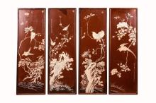 SET OF FOUR PAINTED LACQUER HANGING SCREENS