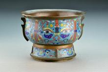 Chinese Qing Cloisonne and Bronze Censor
