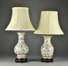 Chinese Porcelain Lamps With Jade Finials