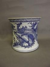 A large Chinese blue and white pottery brush pot