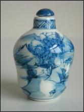 Underglaze Blue Porcelain Landscape Snuff Bottle