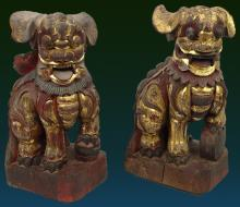 Pair of 19th Century Carved and Gilt Painted Wooden Foo Dogs