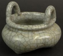 19/20th Century Chinese Porcelain Guan Ware Censer with Ring Handles