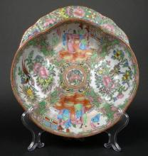 19th Chinese Porcelain Rose Medallion Shaped Bowl