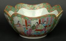 19th Chinese Porcelain Rose Medallion Bowl with Scalloped Shaped Rim
