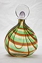 Murano Art Glass Orange & Green Decanter