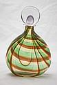 Murano Art Glass Orange & Green Decanter