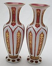2- Moser Bohemian Cased Cut Glass Cranberry Vases