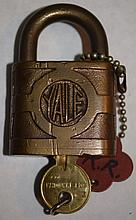 MK&T; Railroad Padlock w Key mfg Yale Lock Co.