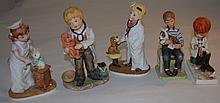 5 Bisque Figures Children Dressed as Vets w Pets