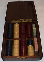 Antique Clay Poker Chips in a Mahogany Storage Box