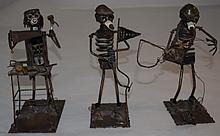 3 Steam Punk Sculpture Fisherman Golfer & Handyman