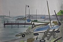 1966 Harbor Watercolor/Charcoal Dennis Paul Noyer