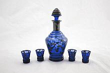 Blue Glass Decanter Set w/ Four Matching Cups
