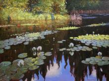 Robert Zhang Original Oil on Canvas 'Lily Pond'