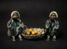 19th C Vienna Bronzes African Twin Boys w/ Oranges