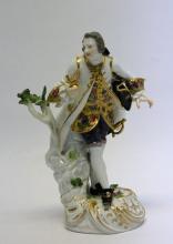 19th C. Meisen Porcelain Figure Gentleman w/ Sword