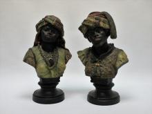 Pr 19th C. Polychrome Blackamoor Terracotta Busts