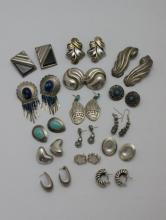(15) Pair Misc. Vintage Sterling Silver Earrings