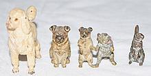 4 Austrian Vienna Bronzes Poodle Pug Kitten Rabbit