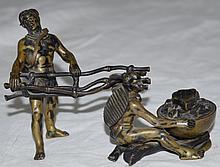 Austrian Vienna Bronze Inkwell 2 Indians by a Fire