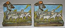 Woman w Sheep Bookends Bronze Dipped Cold Painted
