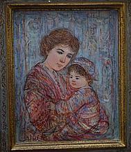 Edna Hibel, Original Oil Painting Mother & Child