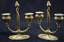 Tiffany Studios Art Nouveau 2 Lite Candle Holders