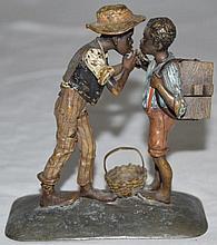 Bergman Geschutzt Bronze Two Africans w Cigars