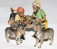 Austrian Bronze Nubian Father & Son w Donkeys