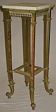 19C Gothic Cast Brass & Onyx Two Tier Footed Stand