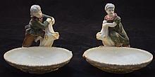 2 Royal Worcester Porcelain Boy& Girl Candy Dishes