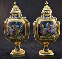 Pair Painted Floral & Gold Lidded Urns Sevres mark