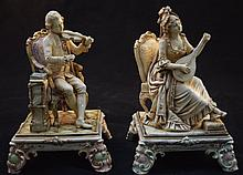 2 Majolica Figures Man & Woman w Violin & Mandolin