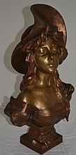 Emmanuel Villanis1858-1914 Bronze Bust Woman w Hat