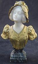 Gori(1895-1925)French Bronze & Marble Bust Woman