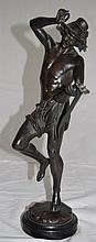 19C Carrier Bronze Sculpture Man Playing Mandoline