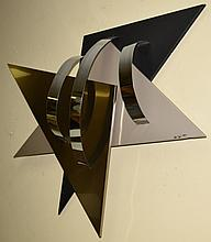 Jere Geometric Enameled & StainlessSteel Sculpture