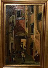 N Jorge, Latin Street Scene Oil Painting on Copper