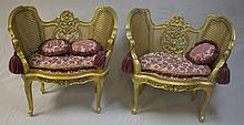 Pair of Rococo Style Gold Gilt Benches / Chairs